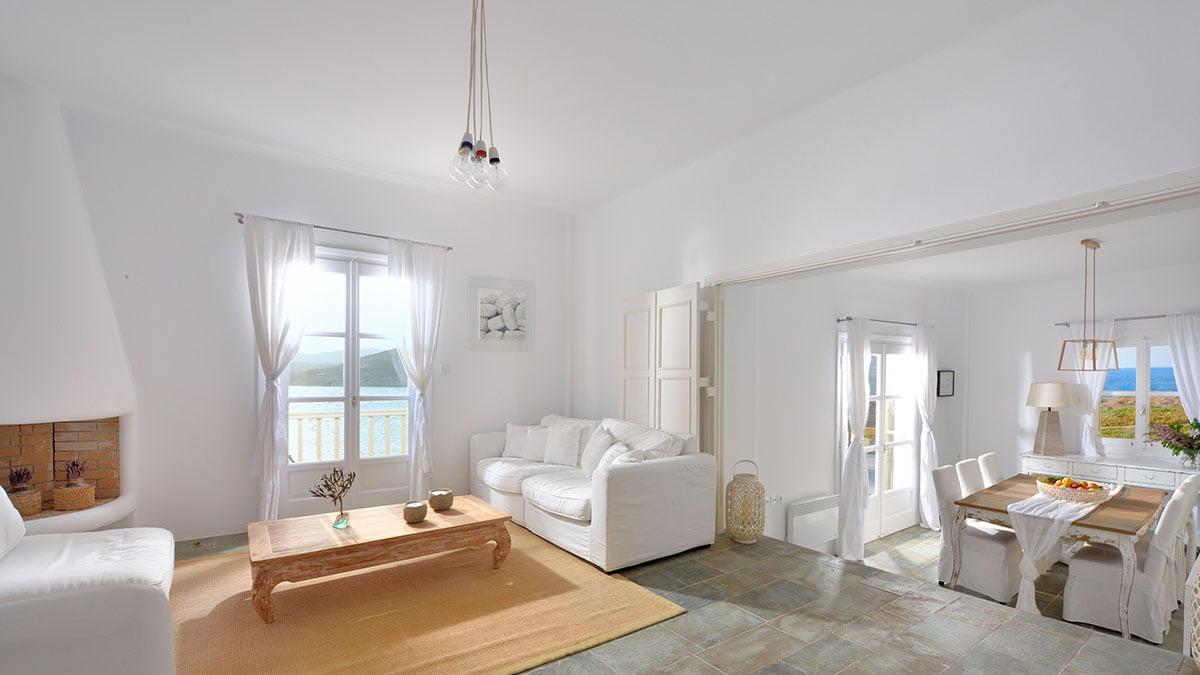 luxury villa sitting area mykonos
