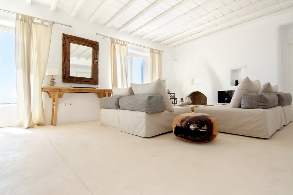 luxury villa living room mykonos