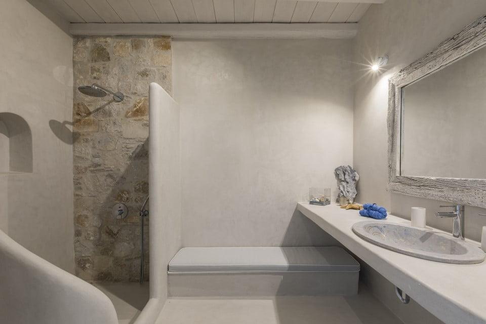 luxury villa bathroom santorini