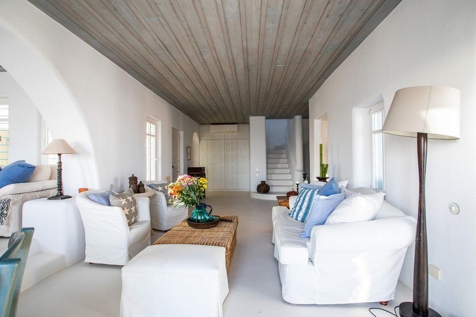 luxury villa living room santorini