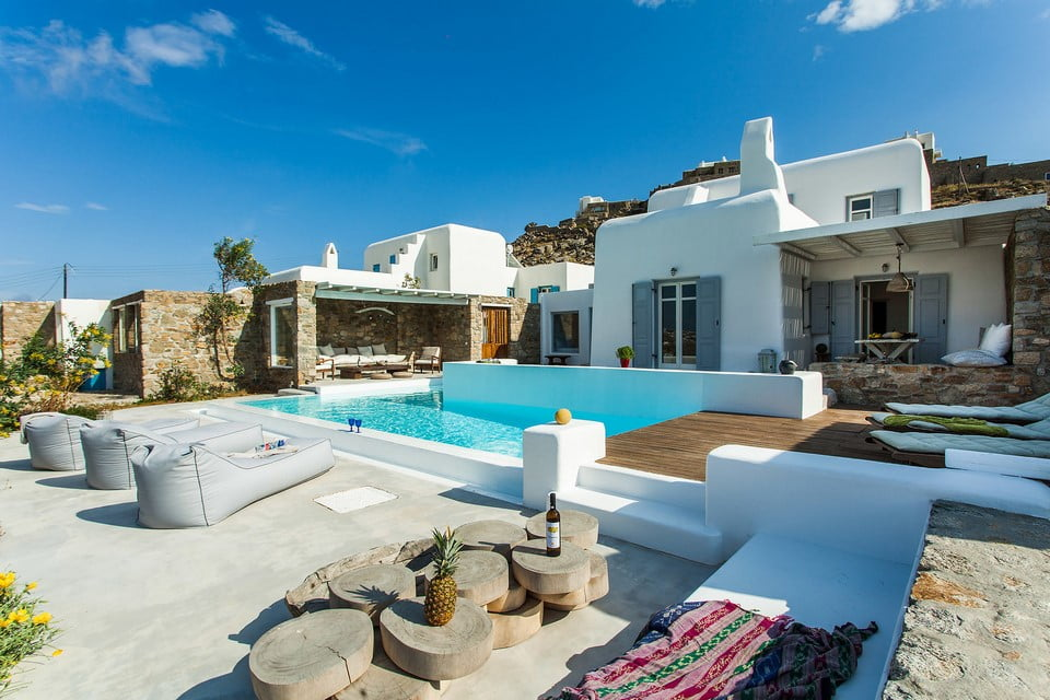 luxury villa outside area Mykonos