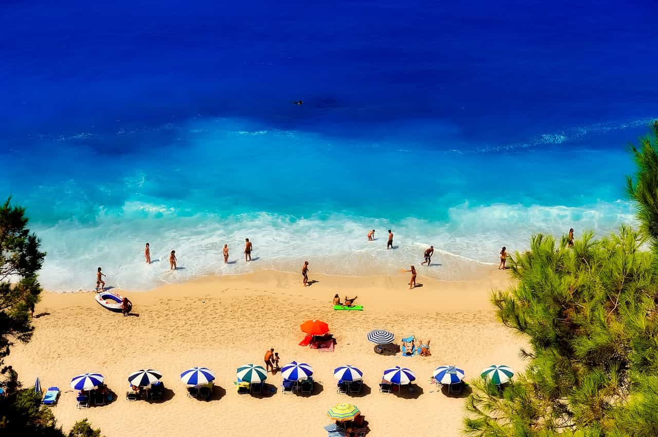 Crowded beach in Greece