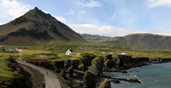 mountain view on road in iceland as  a safe place to travel