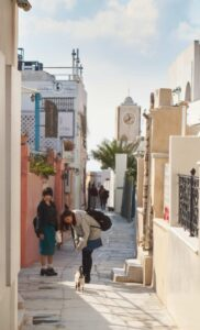 Two people walk through the streets of Oia and they caress a cat